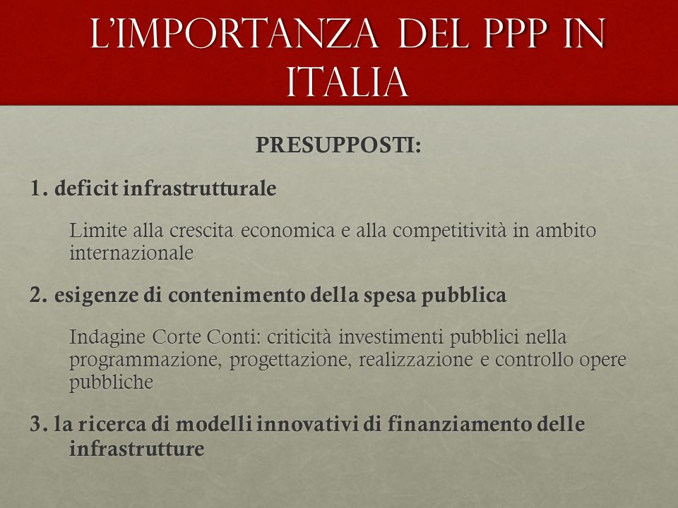 L'importanza del PPP in Italia