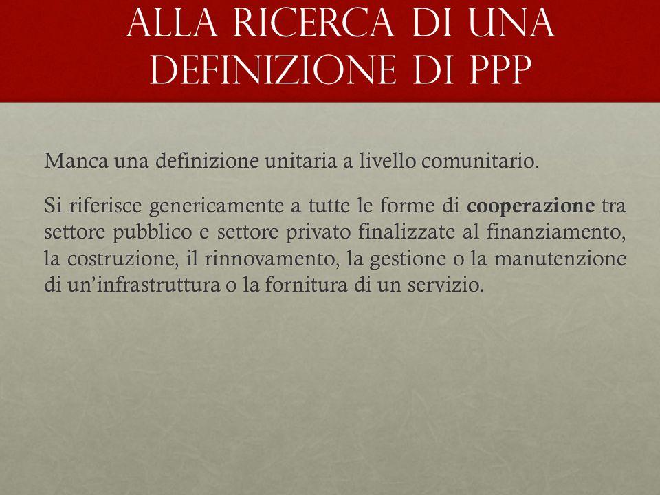 Alla ricerca di una definizione di PPP