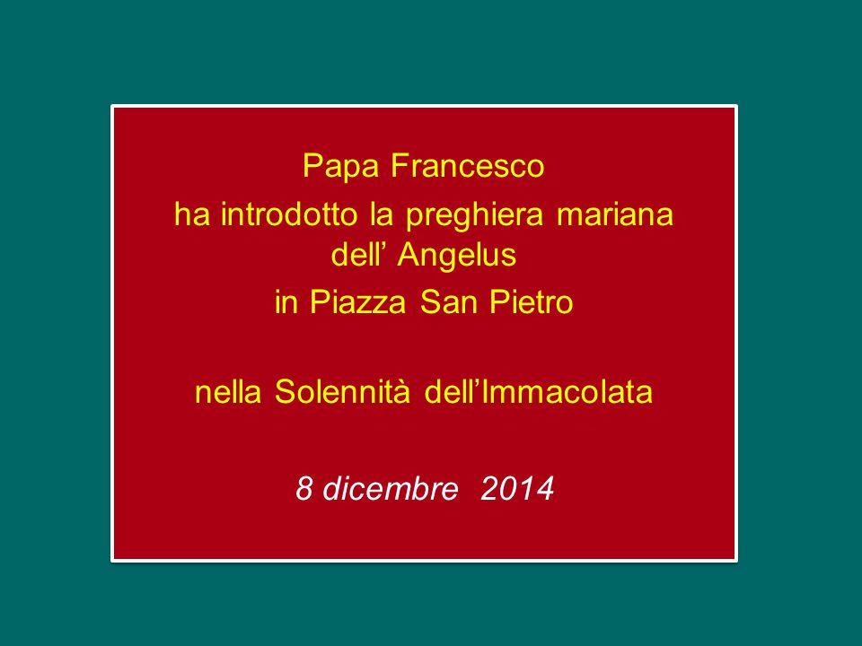 Papa Francesco ha introdotto la preghiera mariana dell' Angelus in Piazza San Pietro nella Solennità dell'Immacolata 8 dicembre 2014