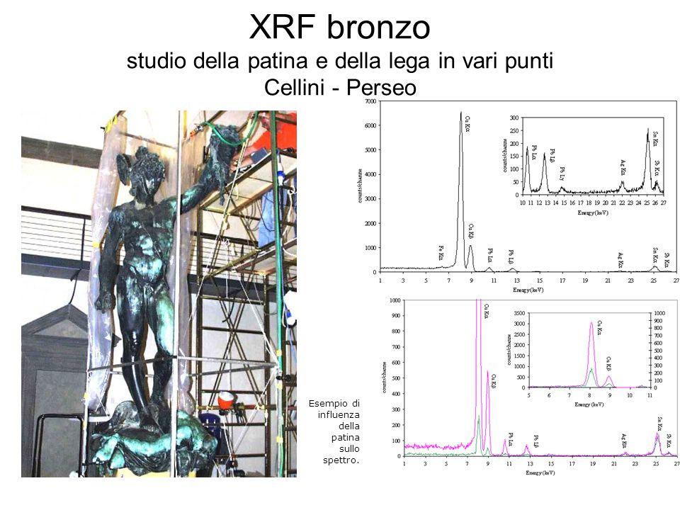 XRF bronzo studio della patina e della lega in vari punti Cellini - Perseo