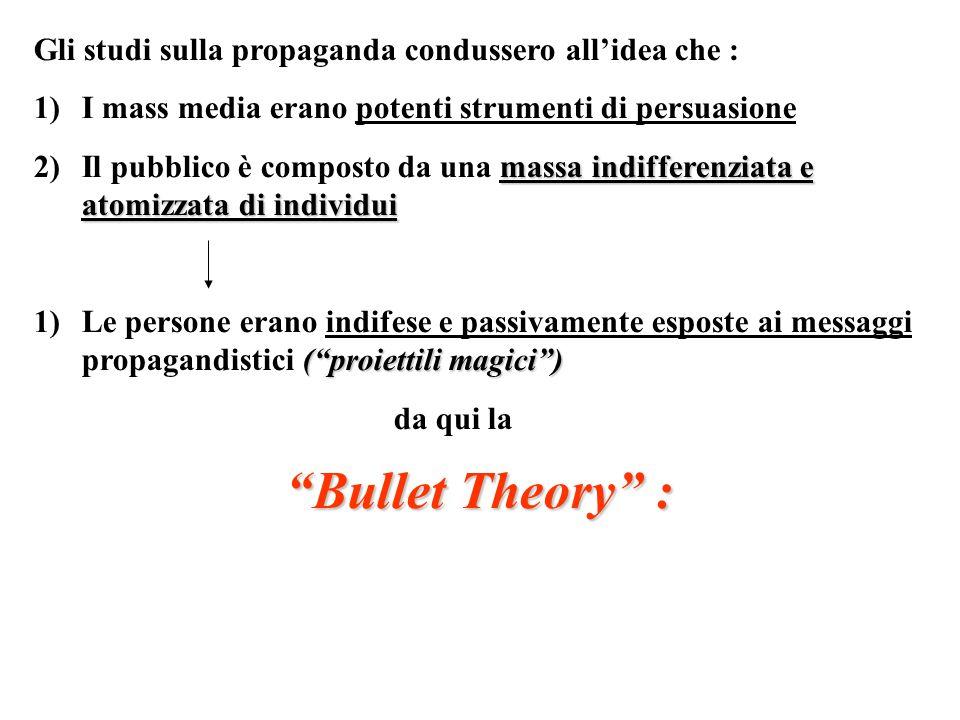 Bullet Theory : Gli studi sulla propaganda condussero all'idea che :