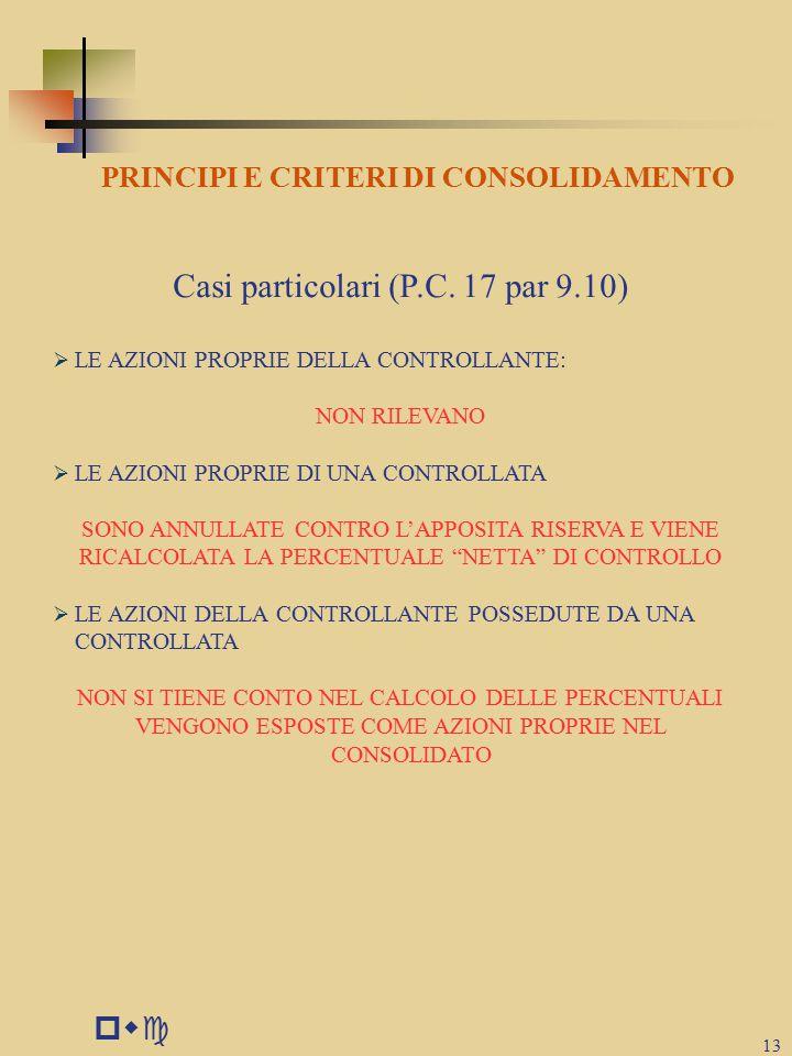 PRINCIPI E CRITERI DI CONSOLIDAMENTO