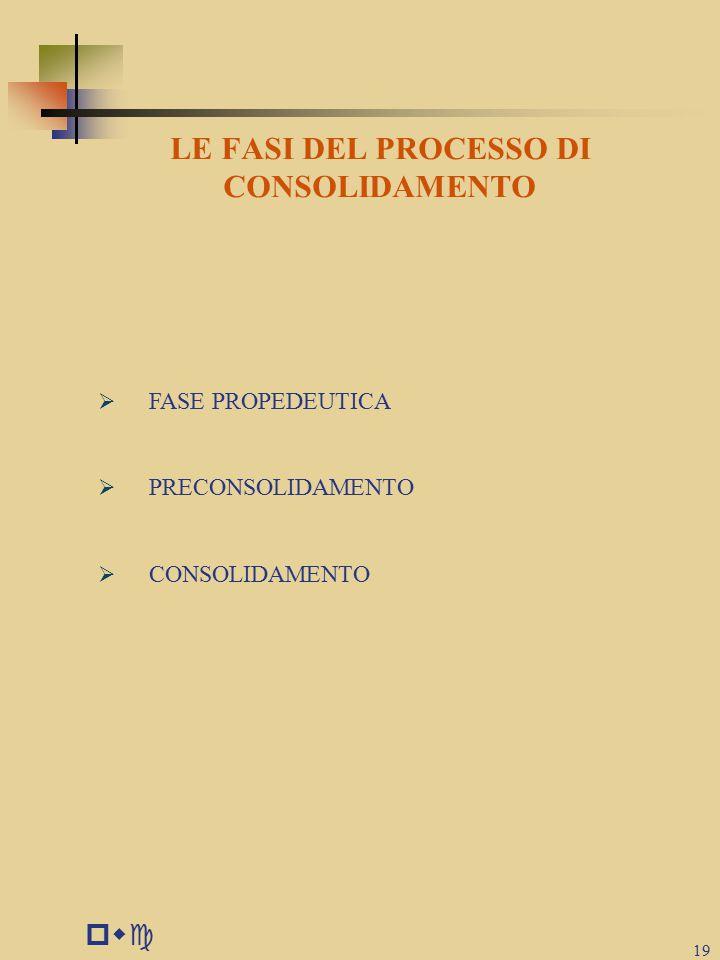 LE FASI DEL PROCESSO DI CONSOLIDAMENTO