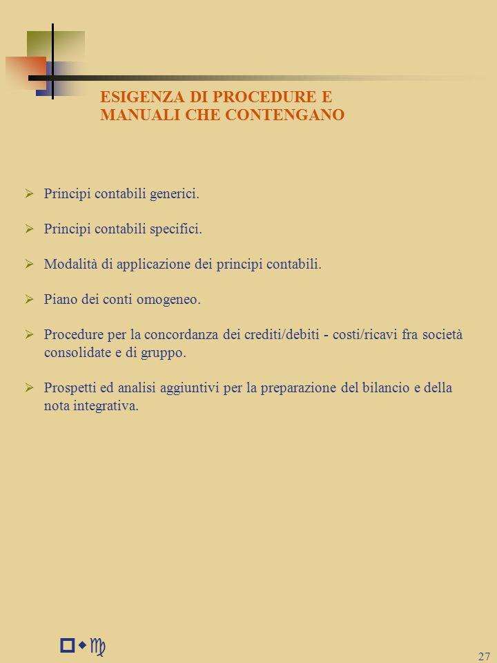 pwc ESIGENZA DI PROCEDURE E MANUALI CHE CONTENGANO