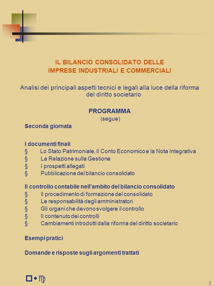 pwc IL BILANCIO CONSOLIDATO DELLE IMPRESE INDUSTRIALI E COMMERCIALI