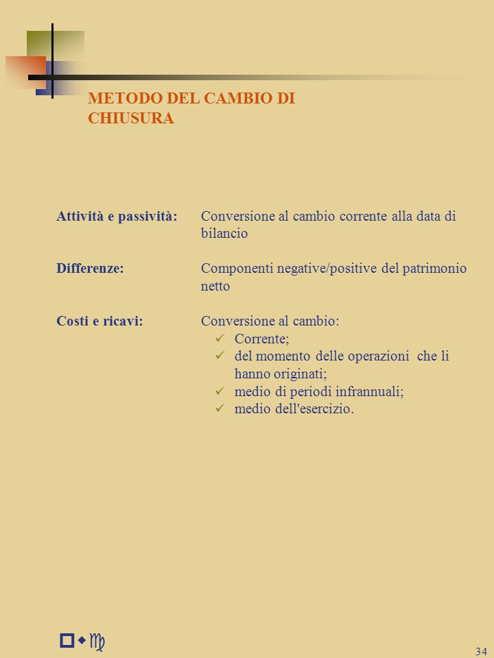 pwc METODO DEL CAMBIO DI CHIUSURA