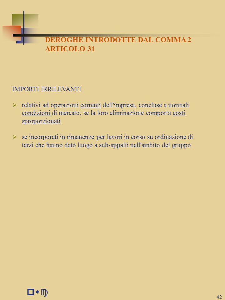 pwc DEROGHE INTRODOTTE DAL COMMA 2 ARTICOLO 31 IMPORTI IRRILEVANTI