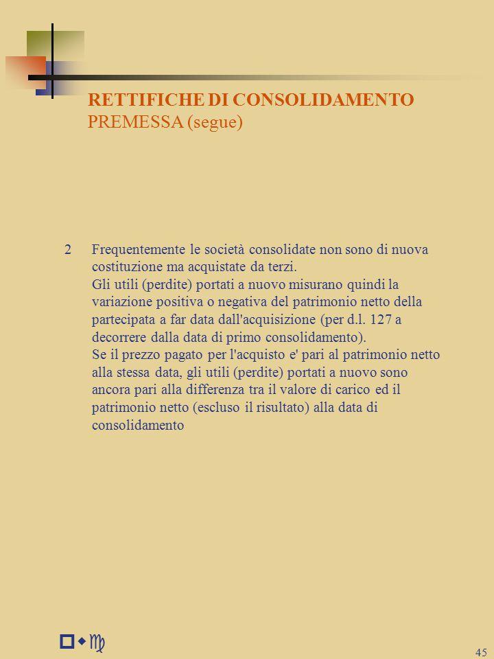 pwc RETTIFICHE DI CONSOLIDAMENTO PREMESSA (segue)