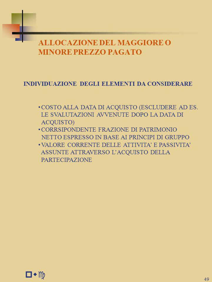 pwc ALLOCAZIONE DEL MAGGIORE O MINORE PREZZO PAGATO