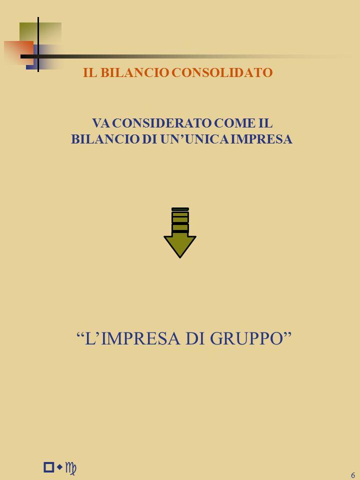 L'IMPRESA DI GRUPPO pwc IL BILANCIO CONSOLIDATO