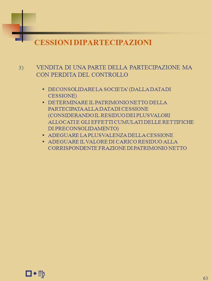 pwc CESSIONI DIPARTECIPAZIONI