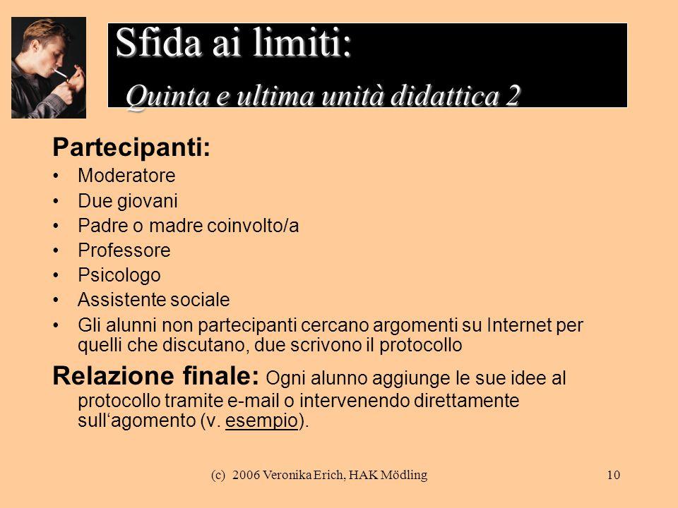 Sfida ai limiti: Quinta e ultima unità didattica 2