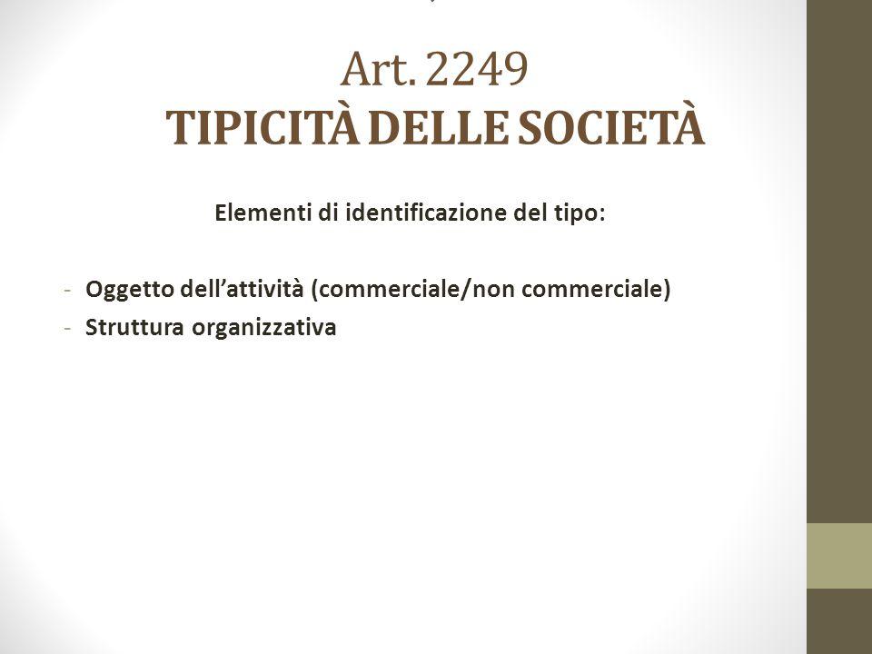 ' Art. 2249 TIPICITÀ DELLE SOCIETÀ