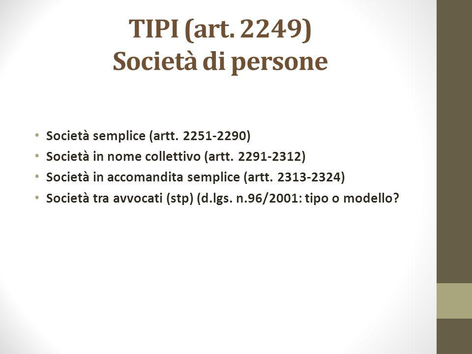 TIPI (art. 2249) Società di persone