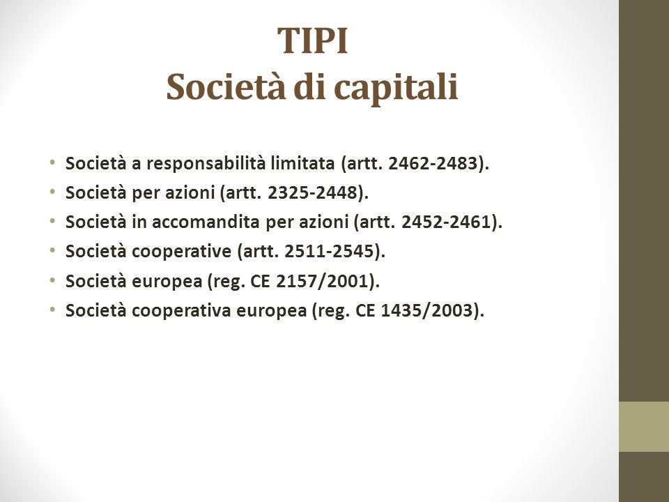 TIPI Società di capitali