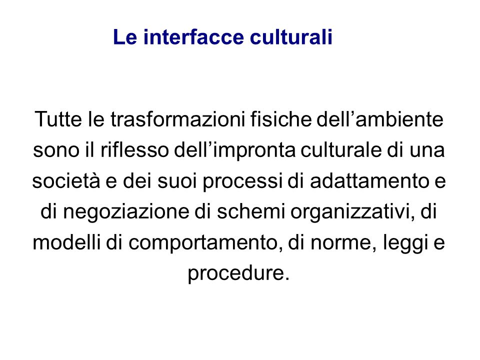 Le interfacce culturali