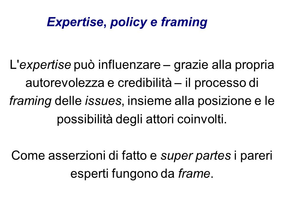 Expertise, policy e framing