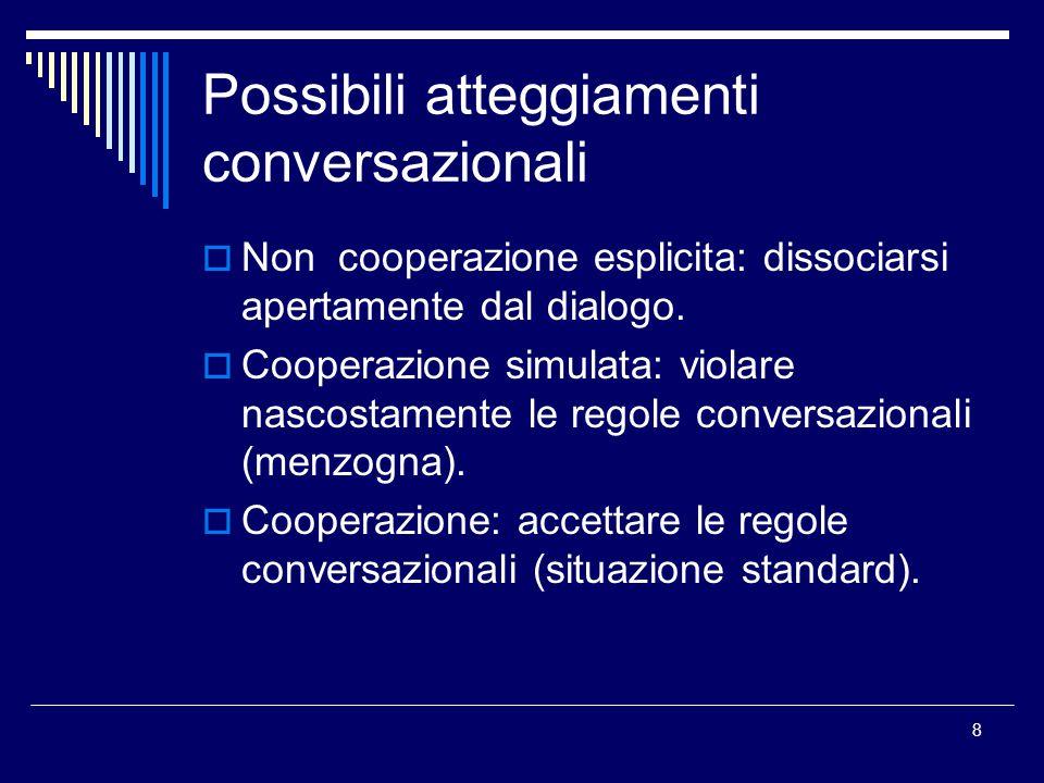 Possibili atteggiamenti conversazionali