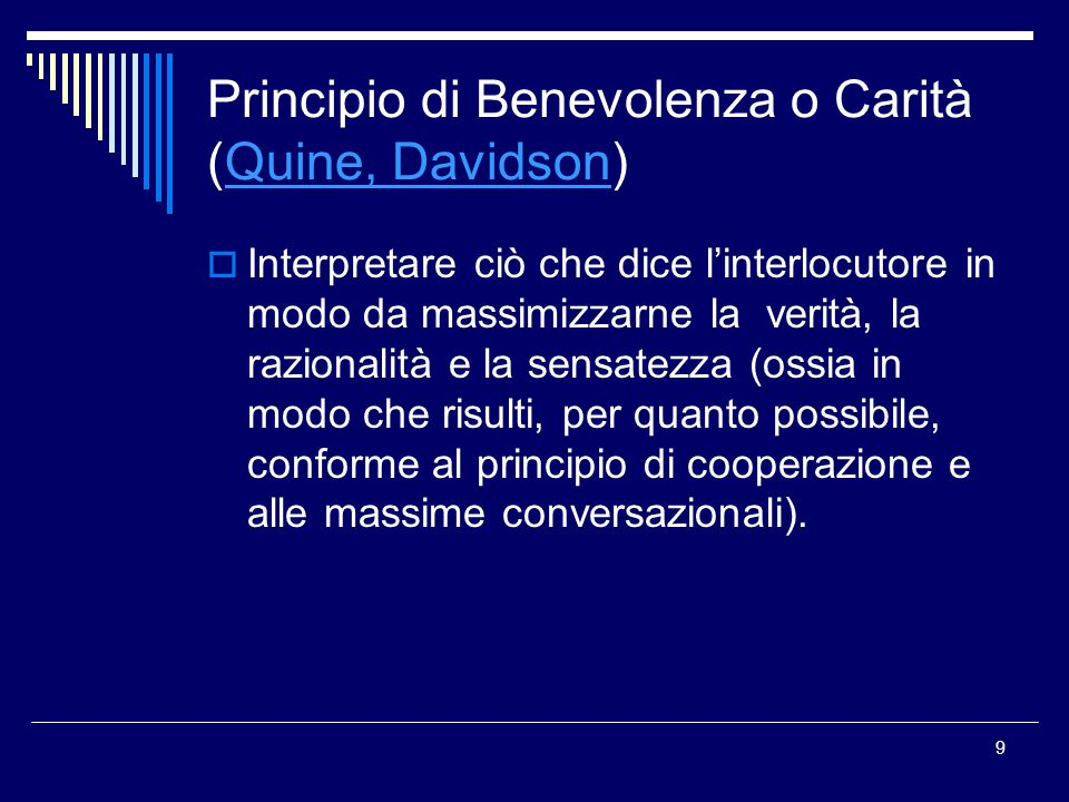 Principio di Benevolenza o Carità (Quine, Davidson)