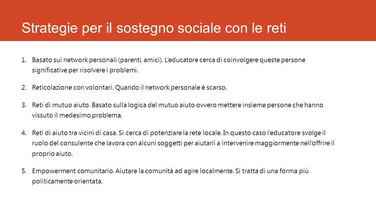 Strategie per il sostegno sociale con le reti