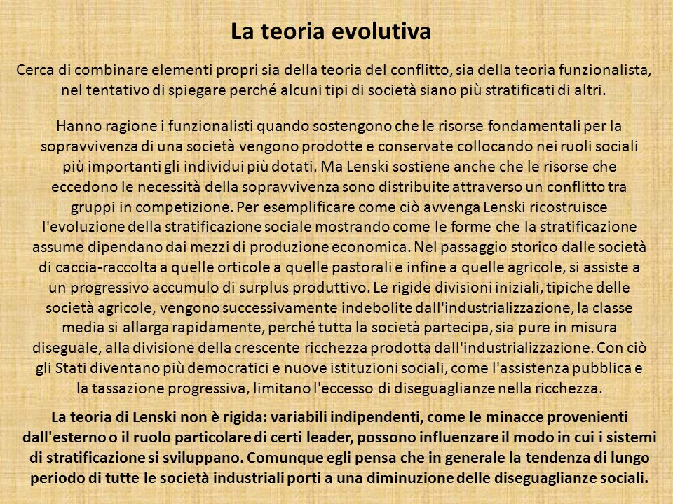 La teoria evolutiva