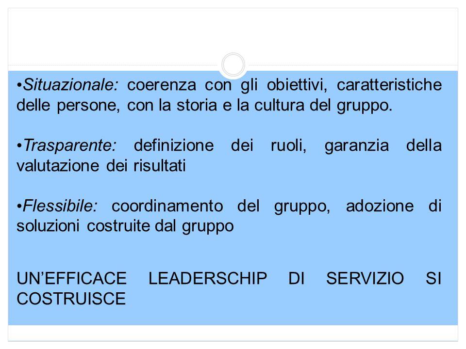 Situazionale: coerenza con gli obiettivi, caratteristiche delle persone, con la storia e la cultura del gruppo.