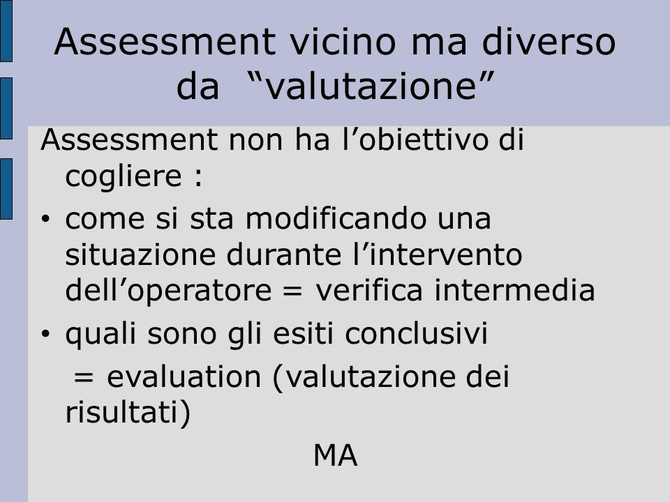 Assessment vicino ma diverso da valutazione
