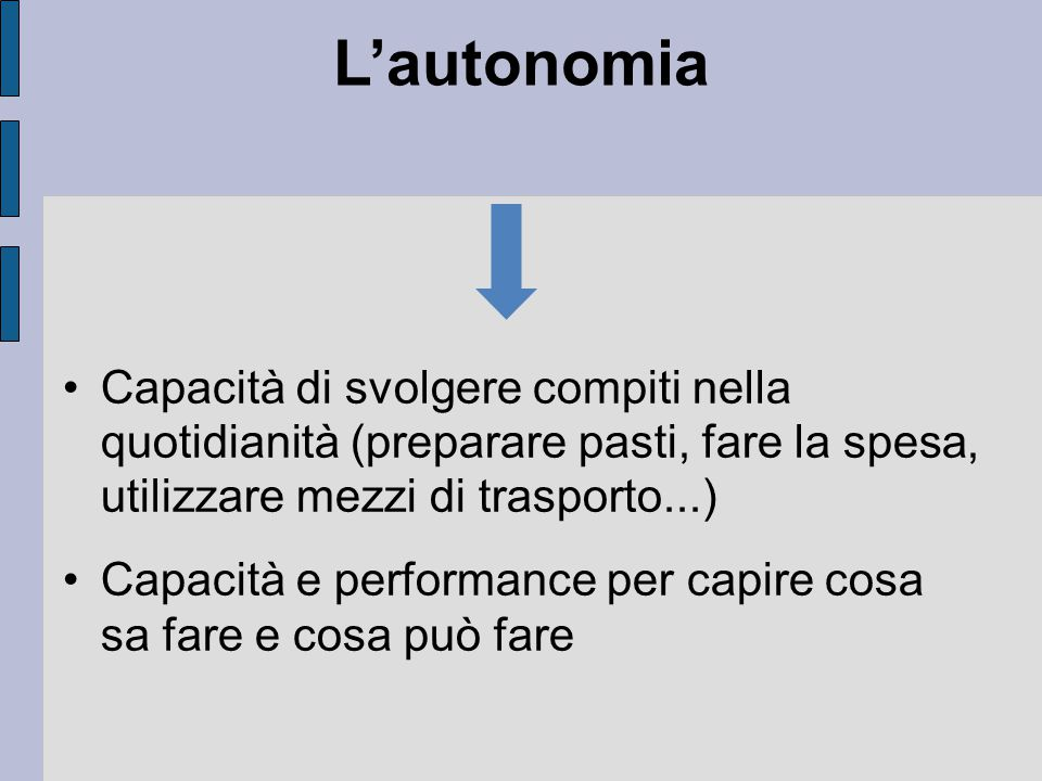 L'autonomia Capacità di svolgere compiti nella quotidianità (preparare pasti, fare la spesa, utilizzare mezzi di trasporto...)