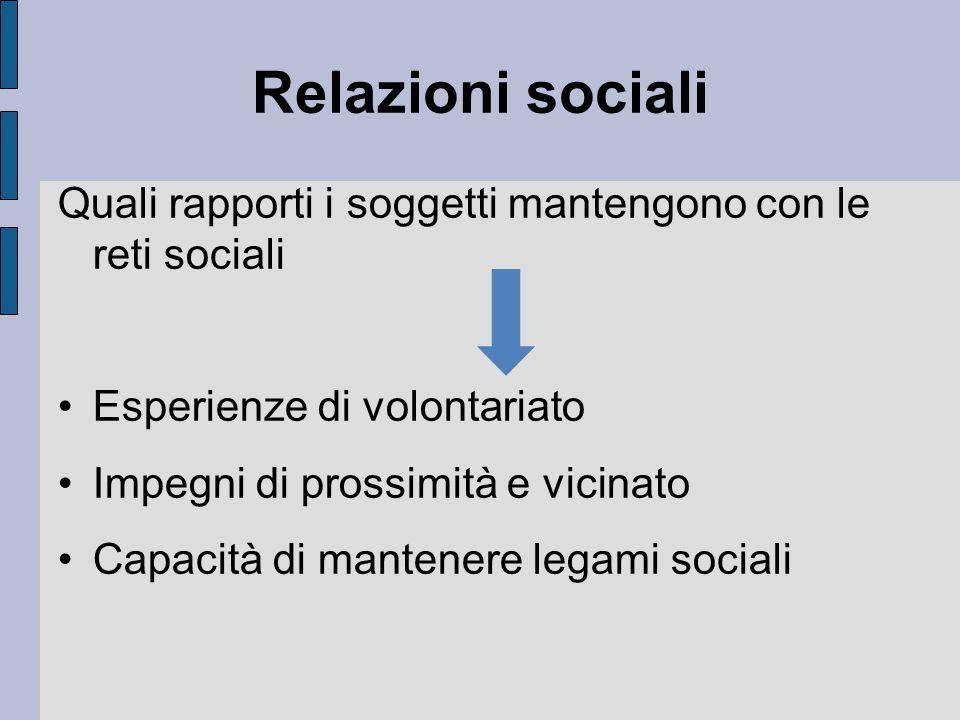 Relazioni sociali Quali rapporti i soggetti mantengono con le reti sociali. Esperienze di volontariato.