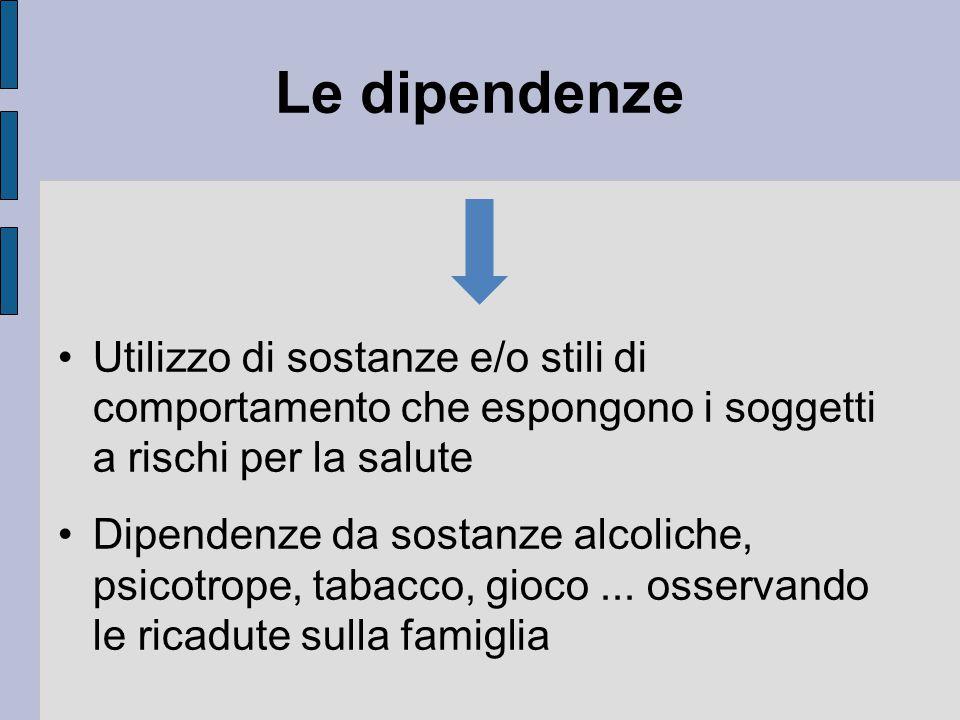 Le dipendenze Utilizzo di sostanze e/o stili di comportamento che espongono i soggetti a rischi per la salute.