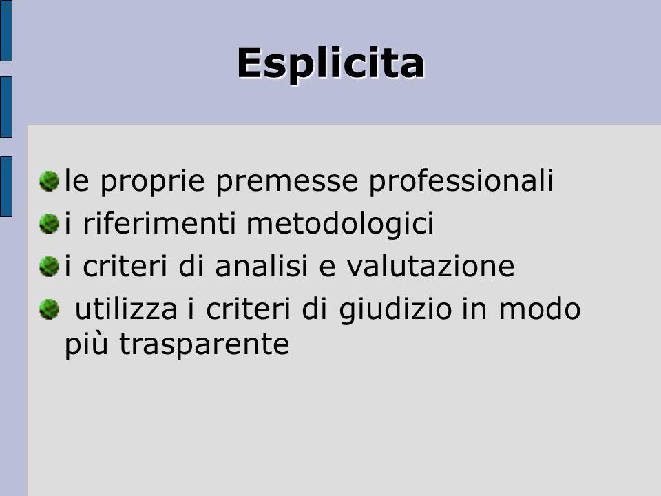 Esplicita le proprie premesse professionali i riferimenti metodologici