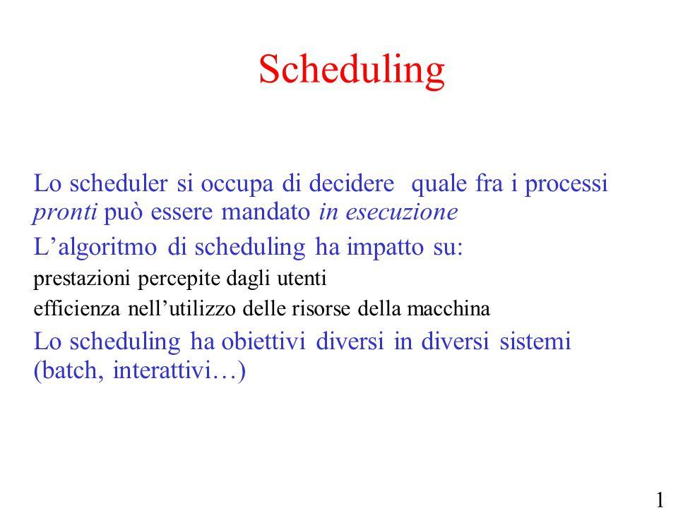 Scheduling Lo scheduler si occupa di decidere quale fra i processi pronti può essere mandato in esecuzione.