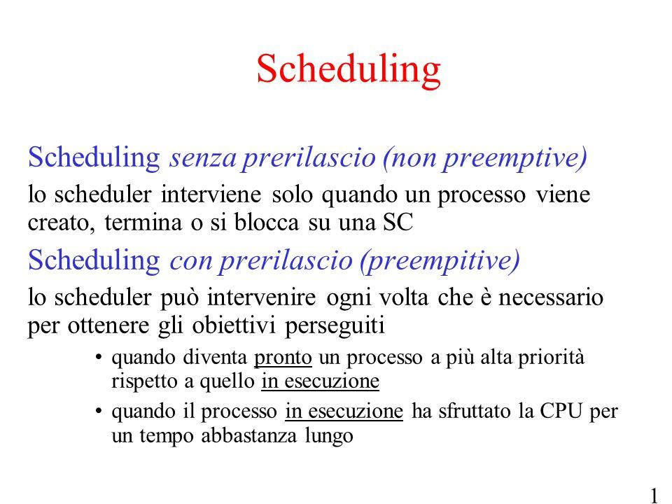 Scheduling Scheduling senza prerilascio (non preemptive)