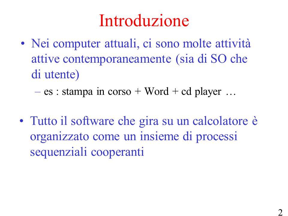 Introduzione Nei computer attuali, ci sono molte attività attive contemporaneamente (sia di SO che di utente)