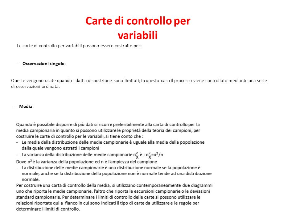Carte di controllo per variabili