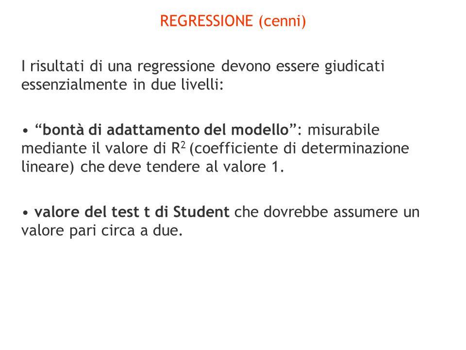 REGRESSIONE (cenni) I risultati di una regressione devono essere giudicati essenzialmente in due livelli: