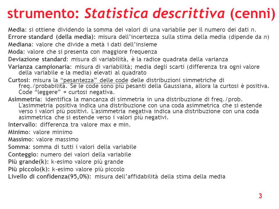 strumento: Statistica descrittiva (cenni)