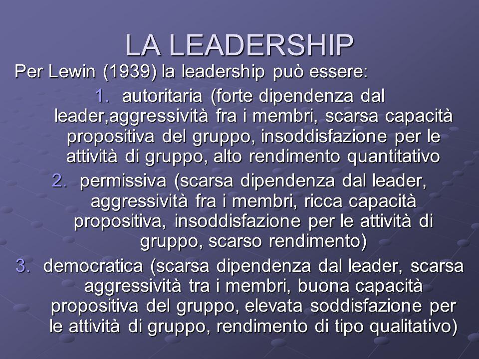 LA LEADERSHIP Per Lewin (1939) la leadership può essere: