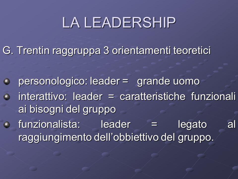 LA LEADERSHIP G. Trentin raggruppa 3 orientamenti teoretici