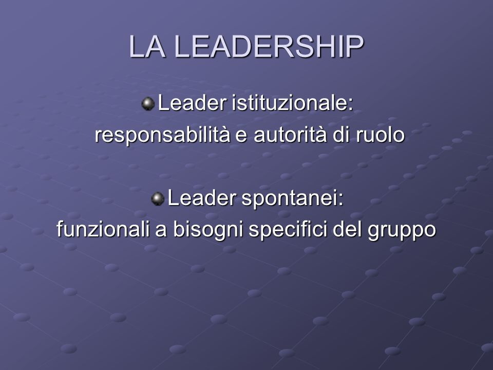 LA LEADERSHIP Leader istituzionale: responsabilità e autorità di ruolo