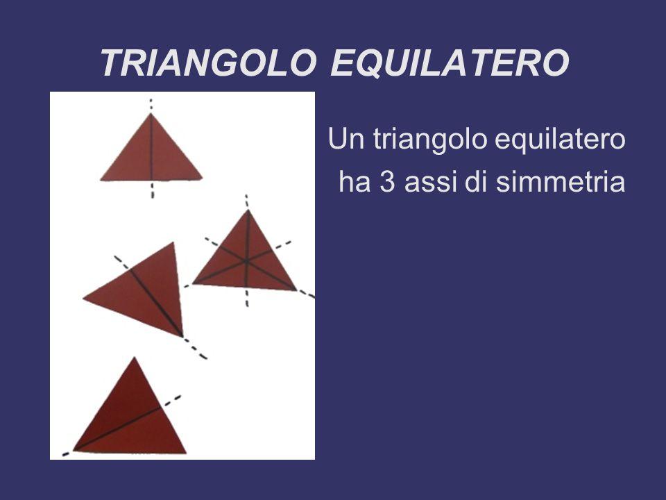 TRIANGOLO EQUILATERO Un triangolo equilatero ha 3 assi di simmetria