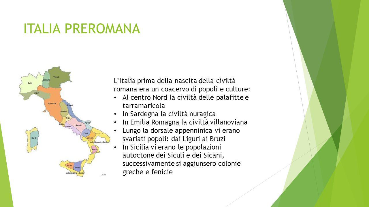 ITALIA PREROMANA L'Italia prima della nascita della civiltà romana era un coacervo di popoli e culture: