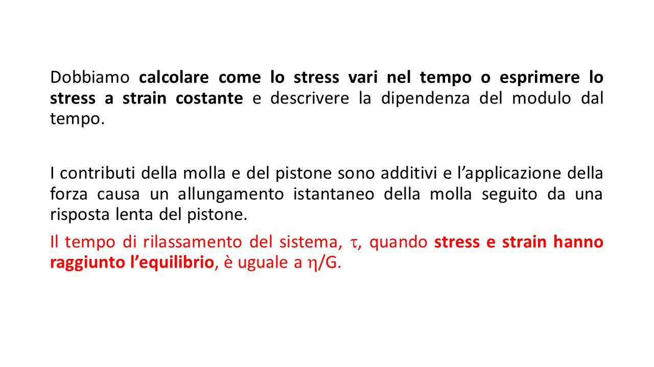 Dobbiamo calcolare come lo stress vari nel tempo o esprimere lo stress a strain costante e descrivere la dipendenza del modulo dal tempo.