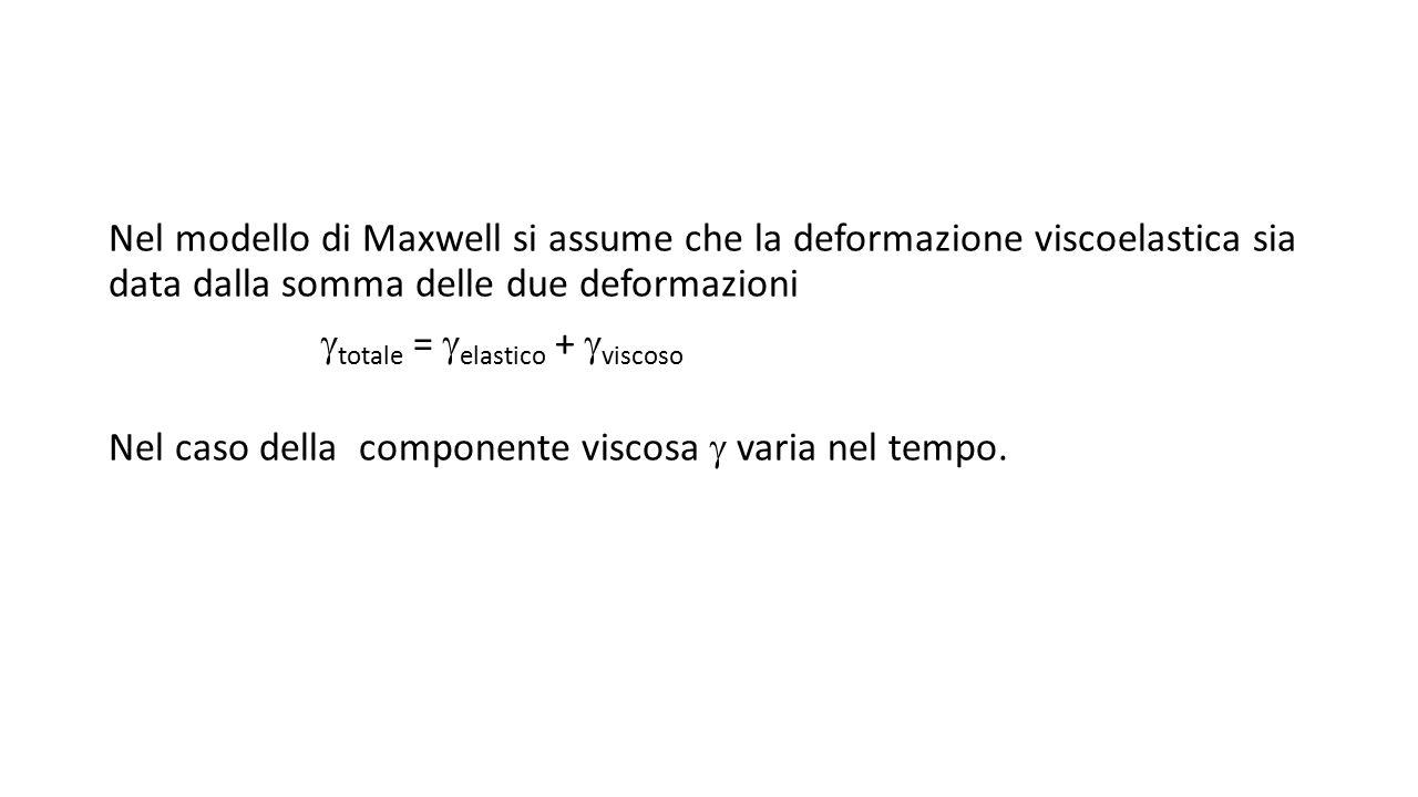 Nel modello di Maxwell si assume che la deformazione viscoelastica sia data dalla somma delle due deformazioni