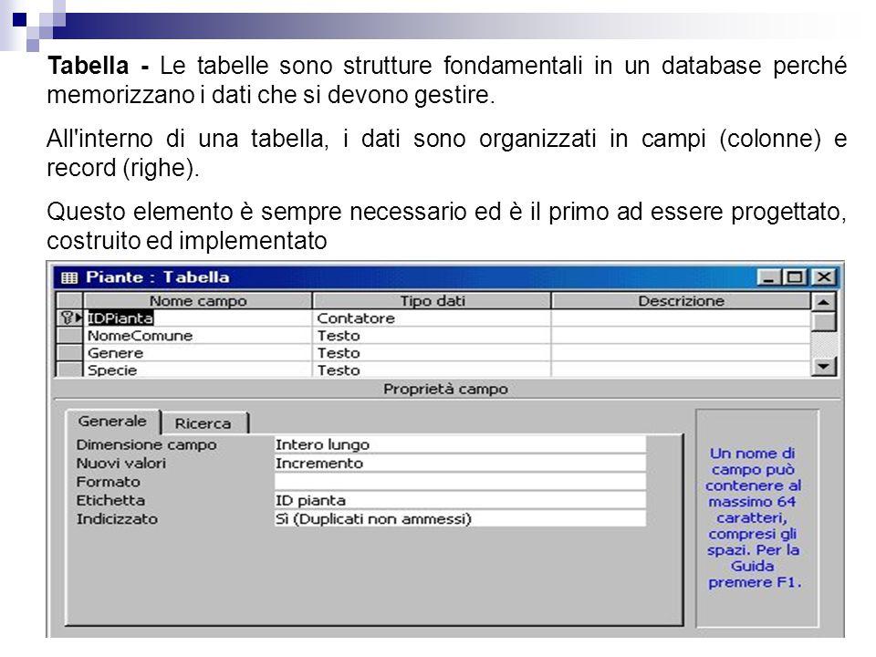 Tabella - Le tabelle sono strutture fondamentali in un database perché memorizzano i dati che si devono gestire.