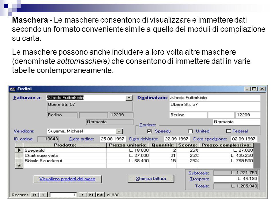 Maschera - Le maschere consentono di visualizzare e immettere dati secondo un formato conveniente simile a quello dei moduli di compilazione su carta.