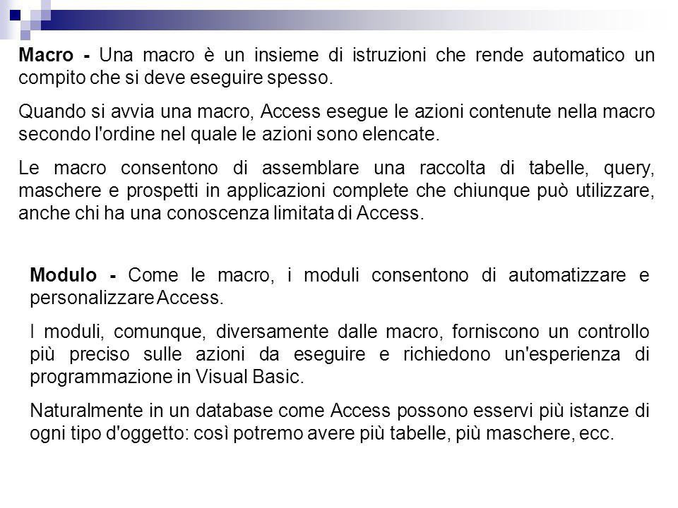 Macro - Una macro è un insieme di istruzioni che rende automatico un compito che si deve eseguire spesso.