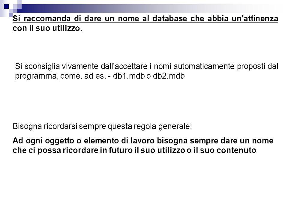 Si raccomanda di dare un nome al database che abbia un attinenza con il suo utilizzo.