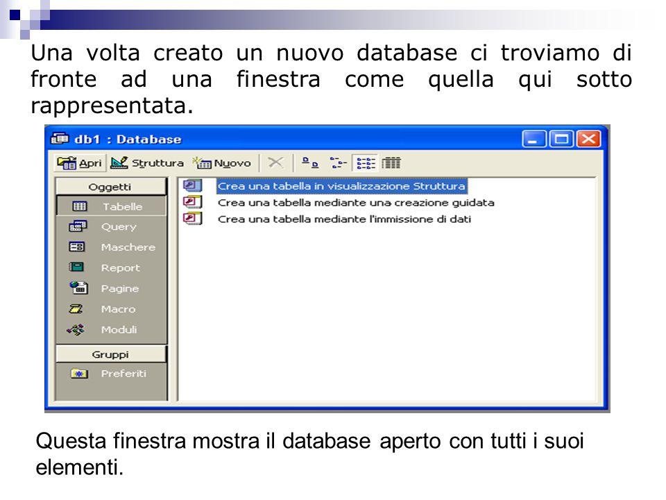 Una volta creato un nuovo database ci troviamo di fronte ad una finestra come quella qui sotto rappresentata.