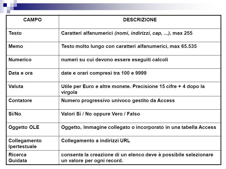 CAMPO DESCRIZIONE. Testo. Caratteri alfanumerici (nomi, indirizzi, cap, ...), max 255. Memo.